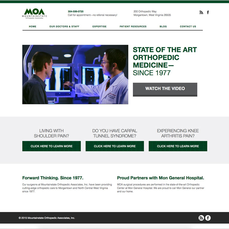 mountainstate orthopedic associates website featured work
