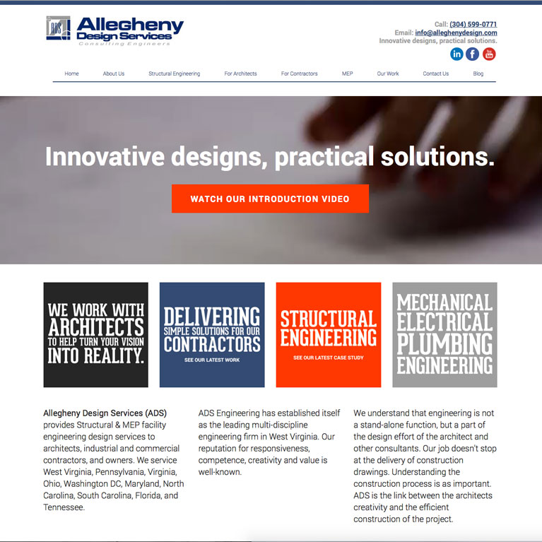 allegheny design services website featured work