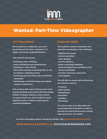 Part-time Videographer Job Listing