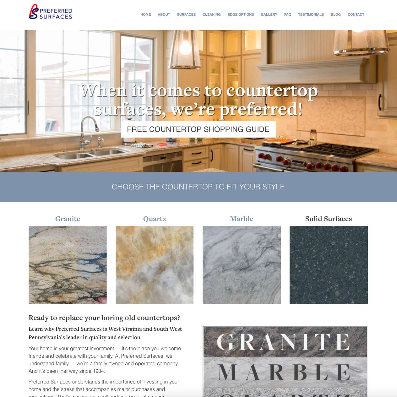 Preferred Surfaces Website Design